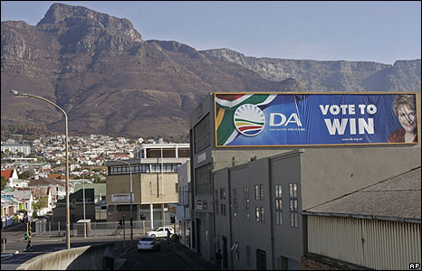 A Democratic Alliance poster in Cape Town