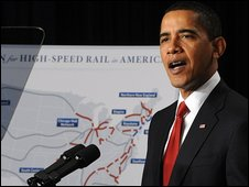 US President Barack Obama outlines his high-speed rail plan