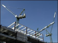 cranes on building site