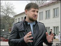Президент Чечни Рамзан Кадыров в селении Центорой в Чечне 16 апреля