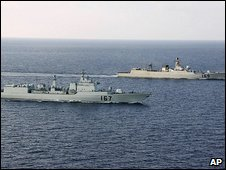 Chinese navy ships in the Gulf of Aden, 13 April 2009 (Xinhua)