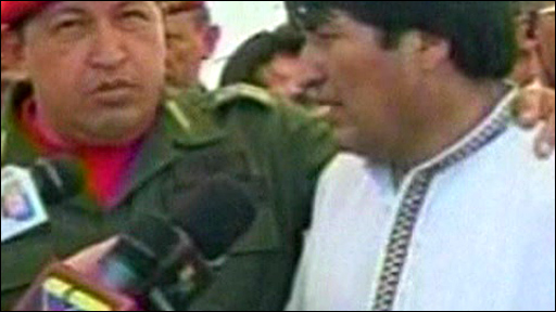 Bolivian President Evo Morales (right)