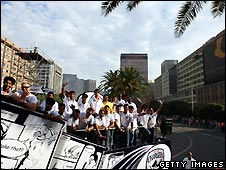 The Deccan Chargers  in a parade through the centre of Cape Town
