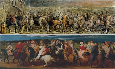Paintings of the Canterbury Pilgrims by William Blake and Thomas Stothard