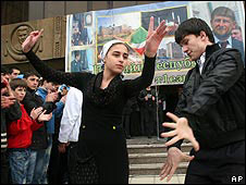 Young people dance celebrating the cancellation of the counter-terrorism operation in Chechnya