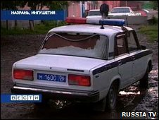 A police car machine-gunned in Nazran, Ingushetia's main city, early March 2009 (still image from Russia TV channel)