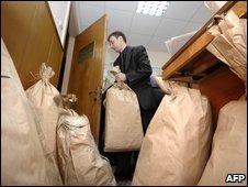 Ballot bags at beginning of recount - photo 15 April