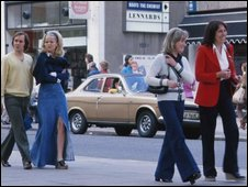 People walking down the Kings Road London in 1973