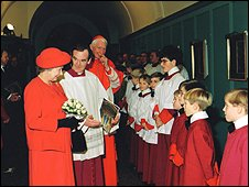 The Queen meeting choirboys and altar servers at Westminster Cathedral