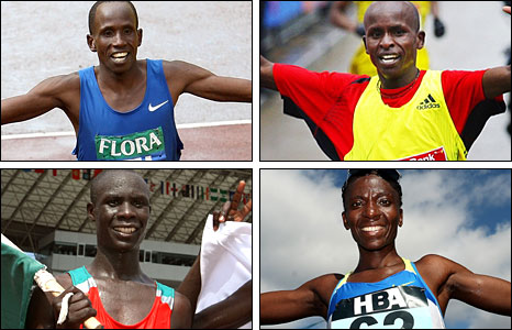 Clockwise from top left: Martin Lel, Samuel Wanjiru, Catherine Ndereba, Luke Kibet