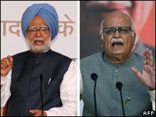 Indian leaders Manmohan Singh (L), LK Advani (R)