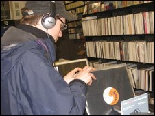 Shopper browsing in record store