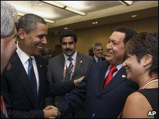 President Barack Obama shakes hands with Venezuela's President Hugo Chavez