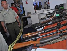 Bolivian police with weapons haul, Santa Cruz