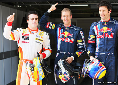 Fernando Alonso, Sebastian Vettel and Mark Webber grab the first three palces on the grid for the Chinese Grand Prix