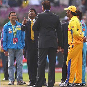 Lalit Modi at the toss in Cape Town