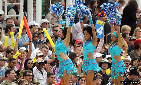 During breaks in play, boundary dancers ensure the party atmosphere continues  among the crowd