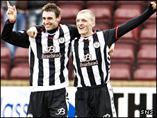 St Mirren goalscorer Andy Dorman celebrates with David Barron