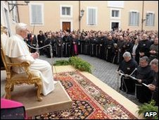 The Pope addresses Franciscan friars in his residence at Castel Gandolfo, 18 April
