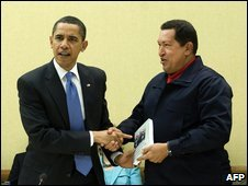 Barack Obama (left) with Hugo Chavez, 18 April