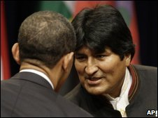 Barack Obama (left) shakes hands with Bolivia's Evo Morales, 17 April