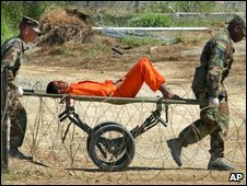 A detainee being carried to an interrogation in Guantanamo Bay prison