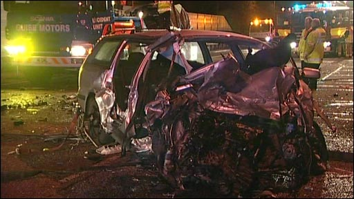 Wreckage of one of the cars involved