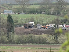 Trucks at the site