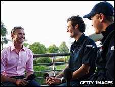 David Coulthard, Mark Webber and Sebastian Vettel