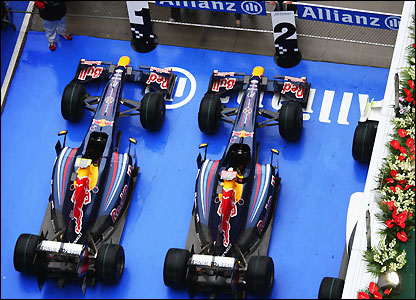 An incredible sight for the Red Bull team and all of their fans as their cars occupy the best two car parking spaces in parque ferme