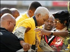 Nelson Mandela at an ANC rally, 19 April 2009