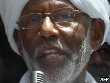 File pic of Sudanese Islamist opposition leader Hassan al-Turabi