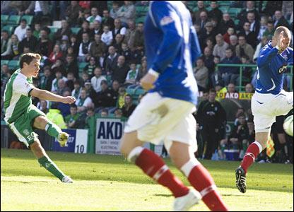 John Rankin pulls a goal back for Hibernian