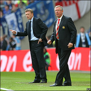 Everton boss David Moyes and his United counterpart Sir Alex Ferguson patrol the Wembley touchline