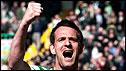 Jan Vennegoor of Hesselink celebrates his goal for Celtic