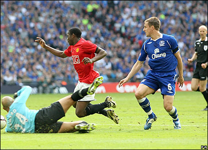 Manchester United have penalty claims as Phil Jagielka clashes with Danny Welbeck