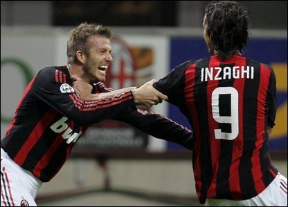 David Beckham and Filippo Inzaghi
