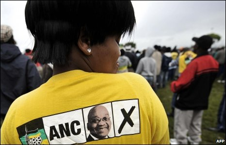 An ANC supporter wears a T-shirt with ANC president