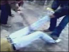 Mobile phone footage thought to show a Hamas punishment beating