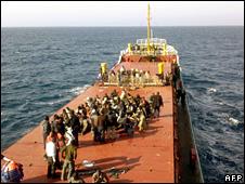 Migrants on board the MV Pinar E (19 April 2009)