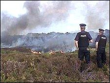 Heath fire in Dorset