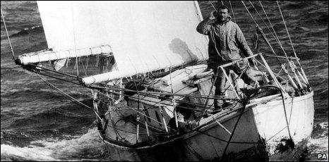 Yachtsman Sir Robin Knox-Johnston aboard his yacht Suhaili