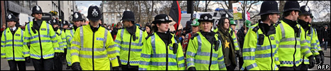 "Police at ""Put People First"" demo"
