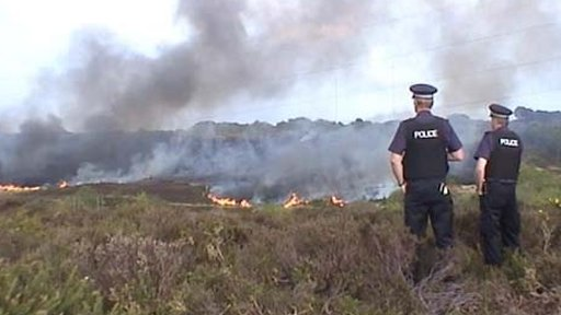 Heath fire in Dorset