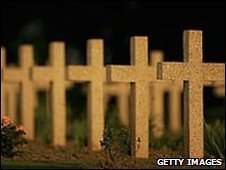 Crosses mark the graves of unknown soldiers killed in battle