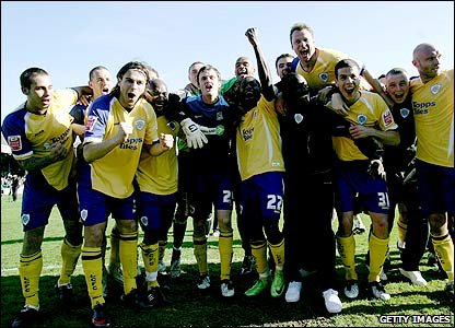 Leicester City's revel in their title success on the Roots Hall pitch