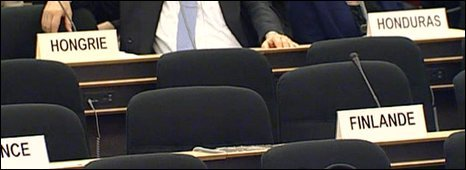 Empty seats at the Geneva meeting, 20/04