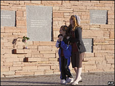 Visitors at the the Columbine High School Memorial at Clement Park, near Littleton, Colorado