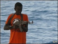 A Somali pirate on board a French yacht on 10 April 2009