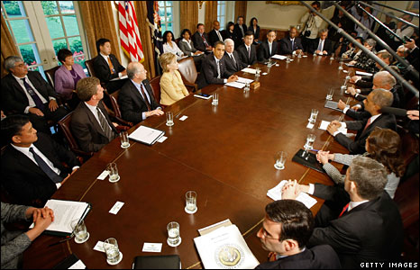 Barack Obama's cabinet meet for the first time